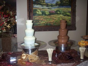 double chocolate fountains at Utah Wedding