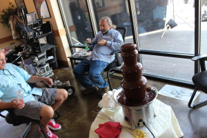 chocolate fountain during commercial shoot